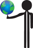 Man with the world in balance Royalty Free Stock Image