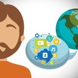 Man world bubble speech communication social media. Vector illustration Royalty Free Stock Photos