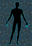 Artificial Intelligence.Silhouette of a human body on a black background program binary code. It can illustrate. Man in the world of digital technologies. It can vector illustration