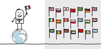 Man & world flags Royalty Free Stock Photo