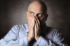 Man with worried expression Stock Photo