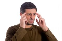 Man worried suffering headache Stock Images