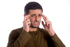 Man worried suffering headache Royalty Free Stock Photo
