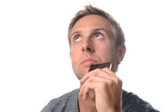 Man worried and thinking Royalty Free Stock Photo