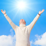Man worships the sun Royalty Free Stock Photos