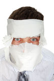 Man Wrapped In Paper Stock Image