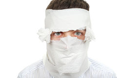 Man Wrapped In Toilet Paper Royalty Free Stock Photos