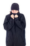 Man wrapped up in winter jacket freezing Stock Photos