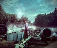 Man after wreckage Stock Images