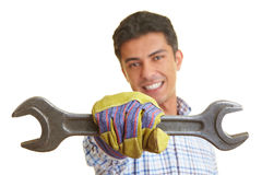 Man with wrench Royalty Free Stock Images