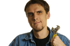 Man with wrench Stock Image
