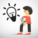 Man with Wrench and Bulb Icon royalty free illustration