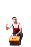 The man with wrench isolated on white Royalty Free Stock Photos