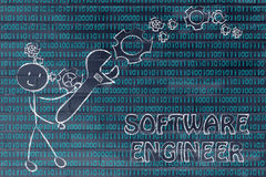 Man with wrench setting up binary code, software engineer jobs Stock Photo