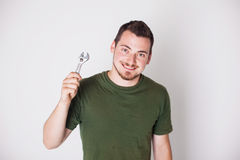 Man with wrench Stock Photos