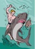 Man wrestling with shark stock illustration