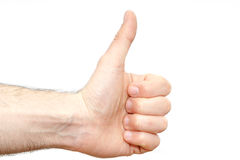 Man wrist finger up good sign isolated. Isolated man wrist with finger up sign Stock Photography