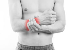 Man with wrist pain Royalty Free Stock Images