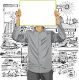 Man With Write Board Against His Head Royalty Free Stock Images
