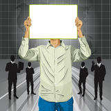Man With Write Board Against His Head Royalty Free Stock Photography