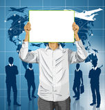 Man With Write Board Against His Head Royalty Free Stock Photo
