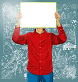 Man With Write Board Against Love Background Royalty Free Stock Images