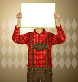 Man With Write Board On Oktoberfest Royalty Free Stock Image