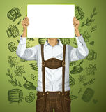Man With Write Board On Oktoberfest Royalty Free Stock Photo