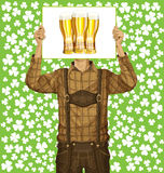 Man With Write Board On St Patricks Day Stock Photos