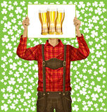 Man With Write Board On St Patricks Day Royalty Free Stock Images