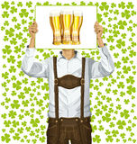 Man With Write Board On St Patricks Day Stock Image