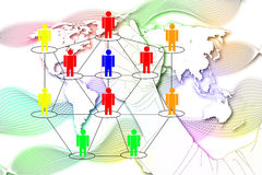 The man write Network Marketing on World Map background. Stock Photo