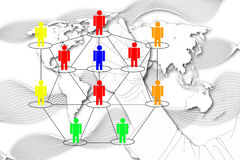 The man write Network Marketing on World Map background. Royalty Free Stock Photography