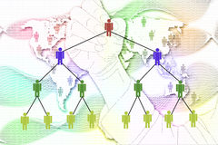 The man write Network Marketing on World Map background. Stock Photos