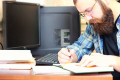 Man write pen table Stock Images
