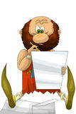 Man writer paper character cartoon style  illustration Stock Photos