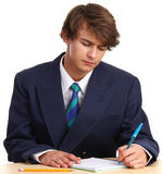 Man writing Stock Photo