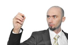 Man writing. Businessman with pen in hand, writing on a white background Royalty Free Stock Photos