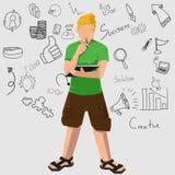 MAN_Writing Ilustração Stock