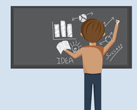 Man Writing On Black Board Stock Image