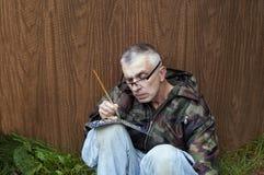 Man Writing By Brush Royalty Free Stock Photo