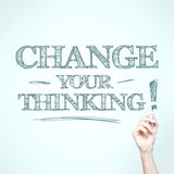 Man writing. Change your thinking stock illustration