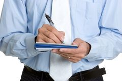 Man Writing Check. Isolated business man writing check Stock Images