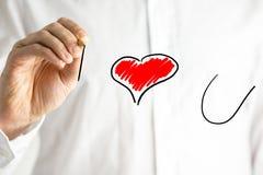 Man writing I Love You on a virtual screen Stock Photos