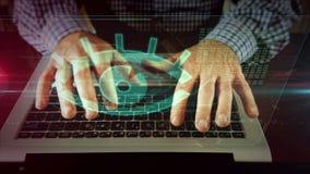 Man writing on laptop keyboard with spy eye