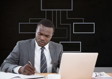 Man writing by laptop with mind map Stock Photo