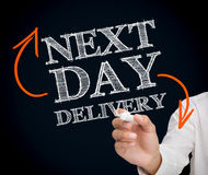 Man writing next day delivery with a chalk Royalty Free Stock Image