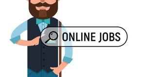 Man is writing ONLINE JOB on virtual screen. Royalty Free Stock Image