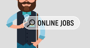 Man is writing ONLINE JOB on virtual screen. Royalty Free Stock Photography