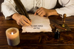 Man writing on parchment Top Secret royalty free stock photos